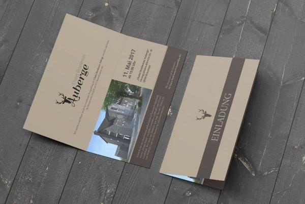 Printdesign Einladungskarten hus de groot Auberge