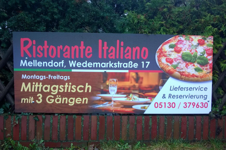 Werbeschild Marketing Mellendorf Ristorante Italiano